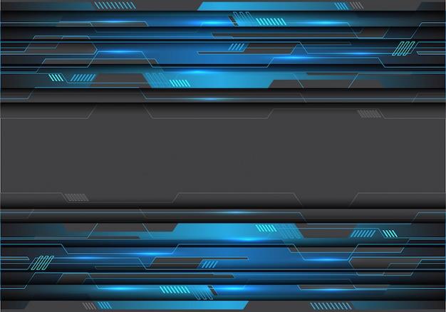 Blauwe metalen circuit op grijze futuristische achtergrond.