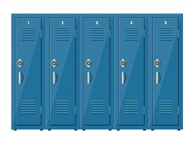 Blauwe metalen kasten. kluisjes in school of sportschool met zilveren handvatten en sloten. kluis met deuren, kast, vak. illustratie in vlakke stijl