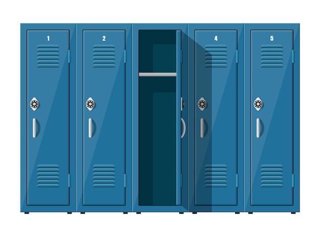 Blauwe metalen kasten. kluisjes in school of sportschool met zilveren handvatten en sloten.