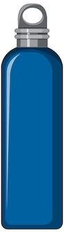Blauwe metalen waterfles geïsoleerd