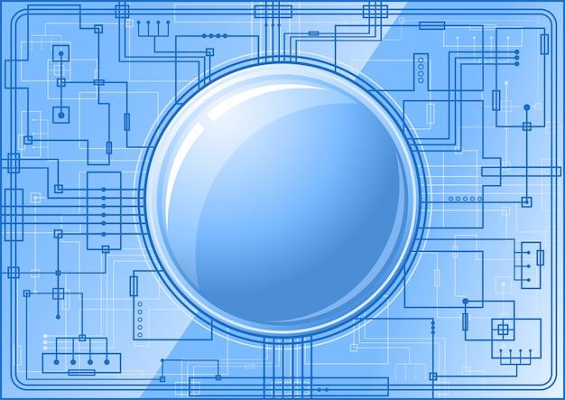 Blauwe microchip met knop
