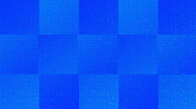 Blauwe microchip op technische achtergrond, hi-tech digitaal en veiligheidsconceptontwerp