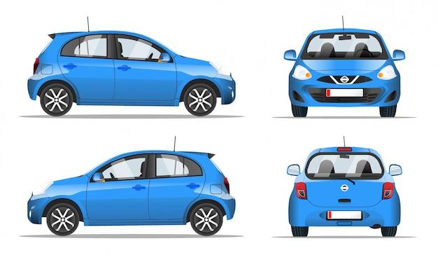 Blauwe mini-auto zij-, voor- en achteraanzicht, stijl. sjabloon voor website, mobiele applicatie en reclamebanner. auto op een witte achtergrond.