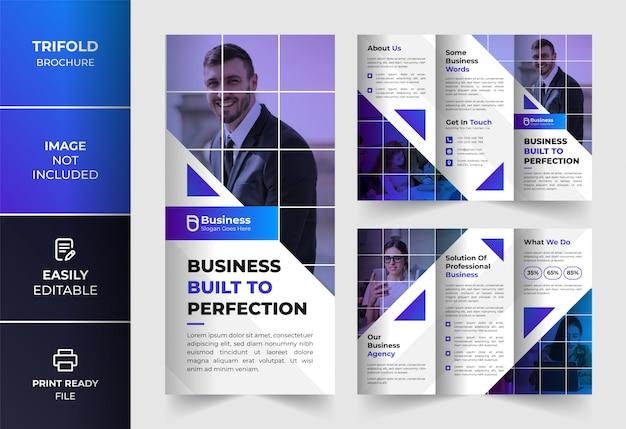 Blauwe moderne abstracte kleur zakelijke driebladige brochure ontwerpsjabloon