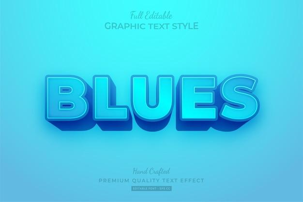 Blauwe moderne vetgedrukte bewerkbare teksteffect lettertypestijl
