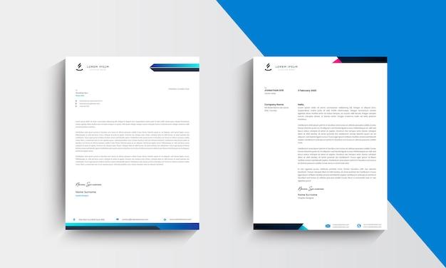 Blauwe moderne zakelijke briefhoofd ontwerpsjabloon