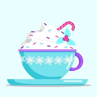 Blauwe mok warme chocolademelk of koffie met slagroom en hagelslag. platte vectorillustratie.