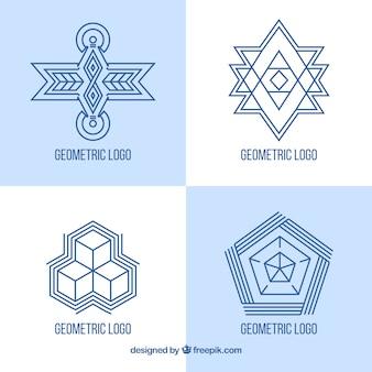 Blauwe monoline logo set