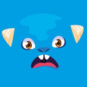 Blauwe monster cartoon