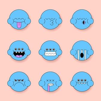 Blauwe monsterkikker emoji stickerset