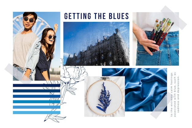 Blauwe moodboard collage