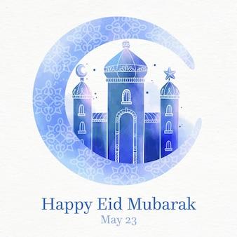 Blauwe moskee en maan aquarel eid mubarak