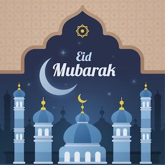 Blauwe moskee in de nacht eid mubarak