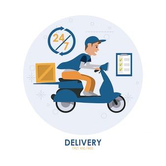 Blauwe motorfiets en pakketpictogram