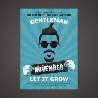 Blauwe movember poster