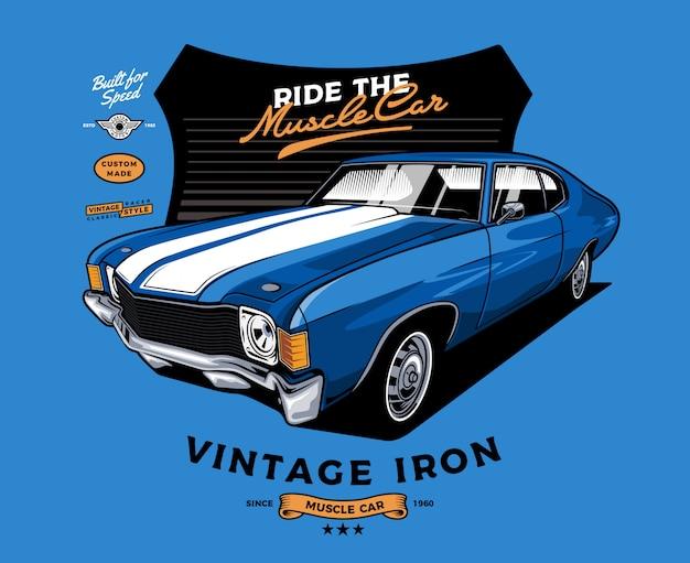 Blauwe muscle car met badge