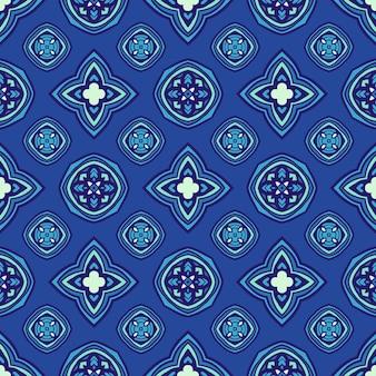 Blauwe naadloze geometrische patroonherhaling met sterren en cirkels. kan worden gebruikt voor behang, achtergronden, decoratie voor uw ontwerp, keramiek, paginavulling en meer.