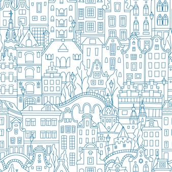 Blauwe naadloze patroon, amsterdam typisch nederlandse huizen