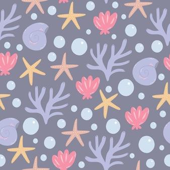 Blauwe naadloze patroon zeebodem