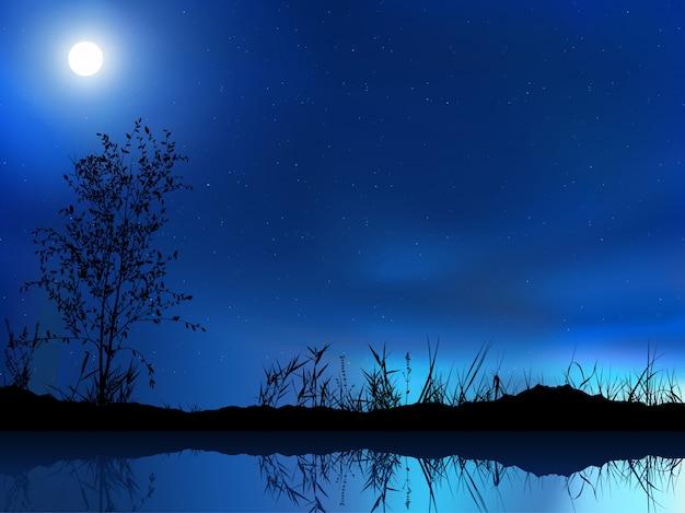 Blauwe nachthemel en landschap