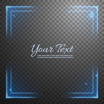 Blauwe neon frame hoekcollectie