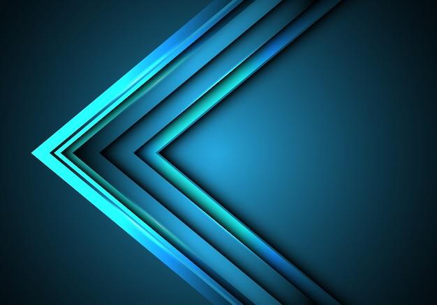 Blauwe neon pijl snelheidsrichting op lege ruimte achtergrond.