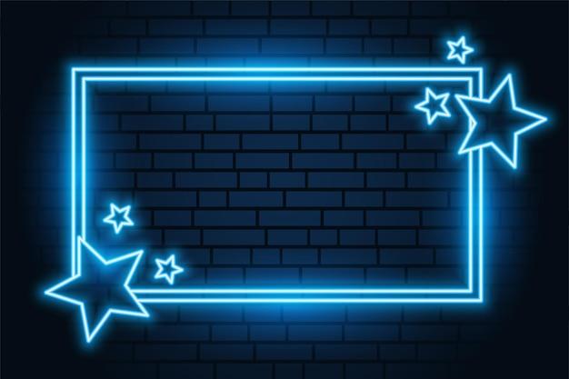 Blauwe neon ster rechthoekig frame met tekstruimte