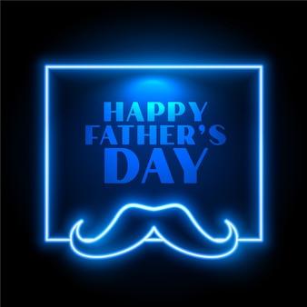 Blauwe neon stijl gelukkige vaders dag viering kaart ontwerp
