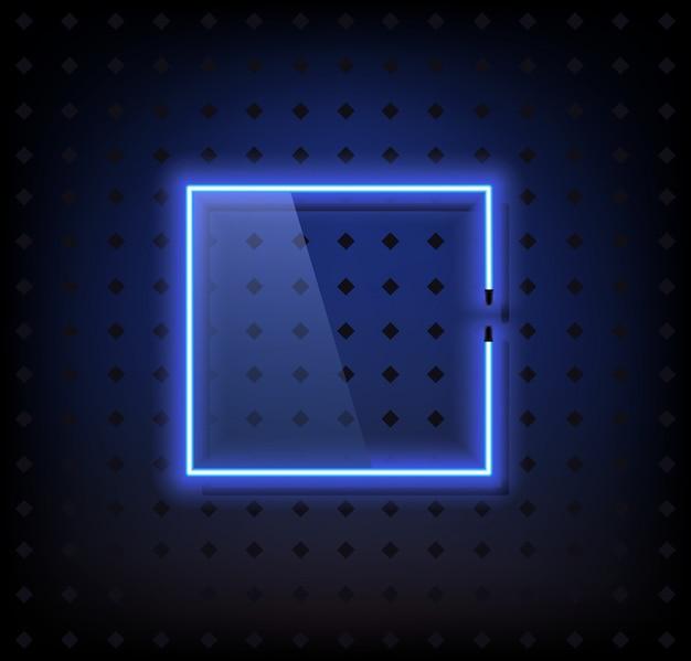 Blauwe neonframe lampvector met glas