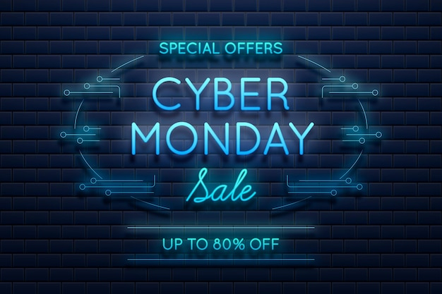 Blauwe neonlicht cyber maandag promo
