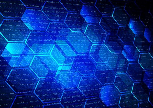 Blauwe netto zeshoek cyber circuit toekomstige technologie concept achtergrond