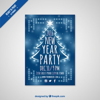 Blauwe new year party fyer 2016