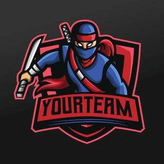 Blauwe ninja met zwaarden mascotte sport illustratie voor logo esport gaming team team