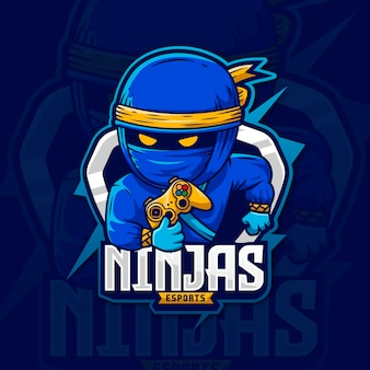 Blauwe ninja storm mascotte logo gaming ontwerp moordenaar karakter