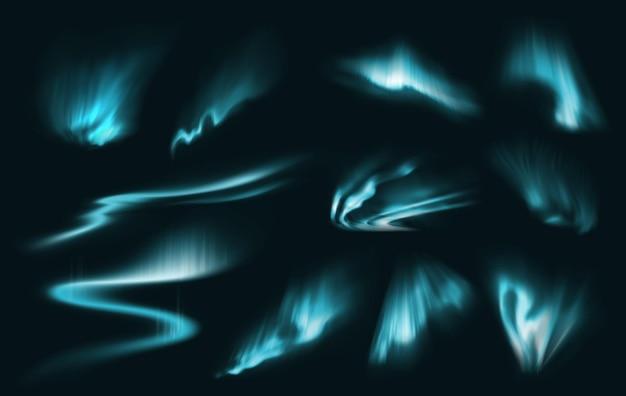 Blauwe noordelijke poollichten gloeien. arctische aurora borealis, natuurverschijnselen, verbazingwekkende gloeiende golvende verlichting aan de nachtelijke hemel.