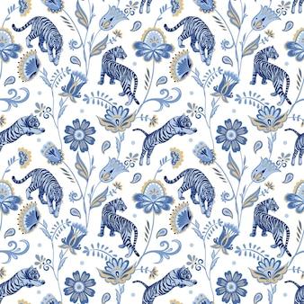 Blauwe noordse tijgers en abstracte volksbloemen en bladeren vector naadloos patroon