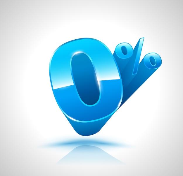 Blauwe nul procent 3d-stijl.