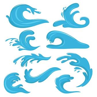 Blauwe oceaan golven, waterdruppels en spatten vector symbolen