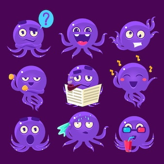 Blauwe octopus emoji set