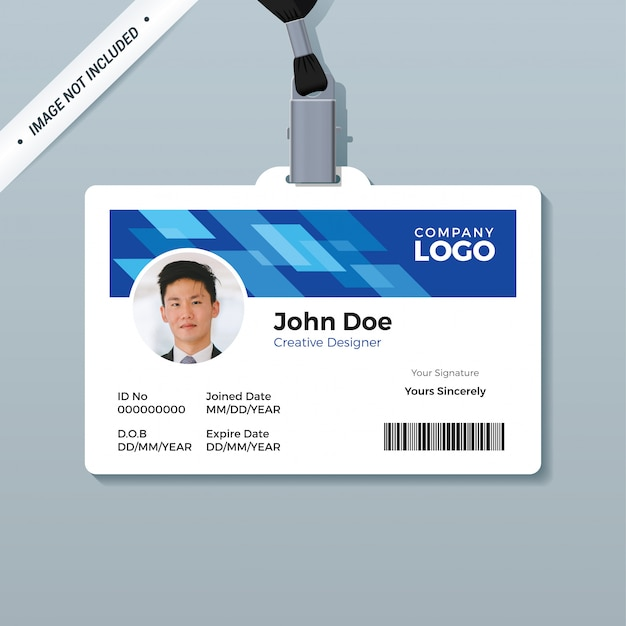 Blauwe office id badge ontwerpsjabloon