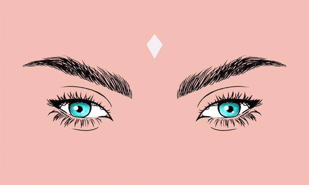 Blauwe ogen vectorillustratie met foxy eyeliner.