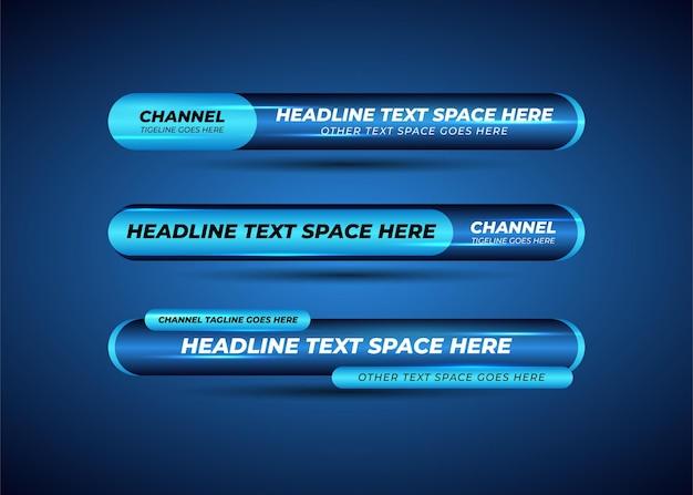 Blauwe onderste derde brekende nieuwsbanner met lichteffect