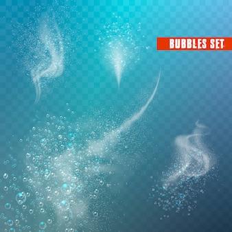 Blauwe onderwater bruisende luchtbellen.