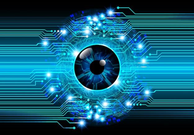 Blauwe oog cyber circuit toekomstige technologie concept achtergrond