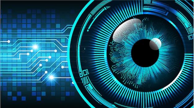 Blauwe oog cyber kring toekomstige technologie concept achtergrond
