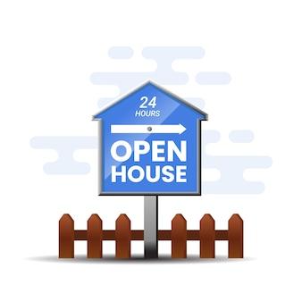 Blauwe open huis teken aanbieding
