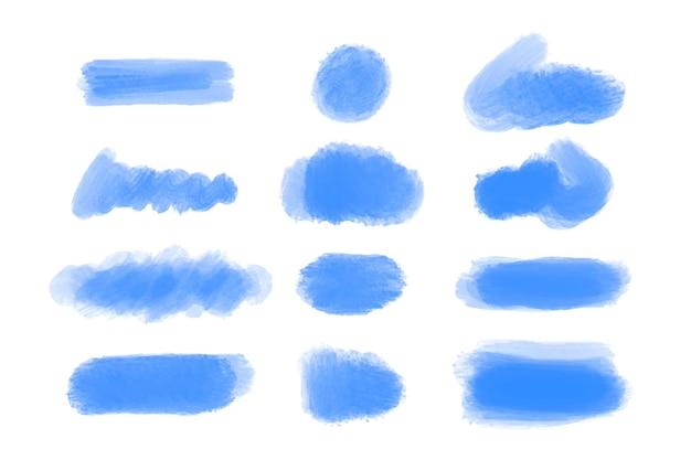 Blauwe organische aquarel penseelstreken