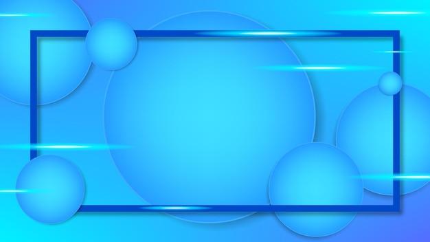 Blauwe ovale achtergrond met neonlichtconcept