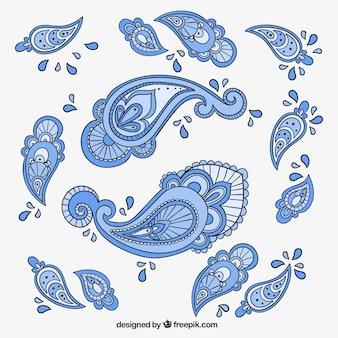 Blauwe paisley ornamenten
