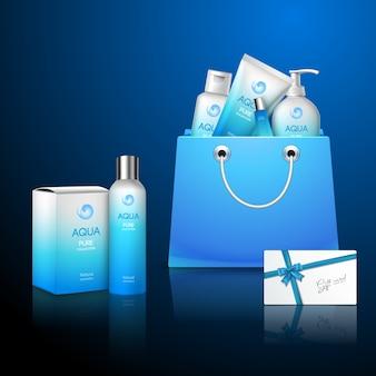 Blauwe pakketten cosmetica instellen